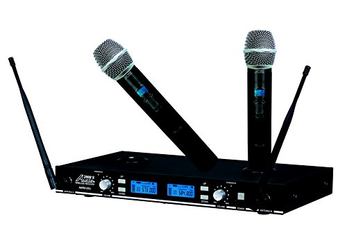 Audio2000'S AWM6123U UHF Rechargeable Dual Channel Wireless System with 16 Frequencies