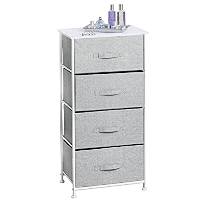 mDesign Vertical Dresser Storage Tower - Sturdy Steel Frame, Wood Top, Easy Pull F, Gray/White