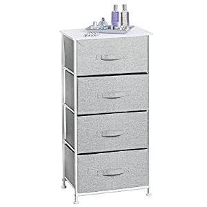 mDesign Fabric 4-Drawer Storage Organizer Dresser for Clothing, Sweaters, Jeans, Blankets – Gray