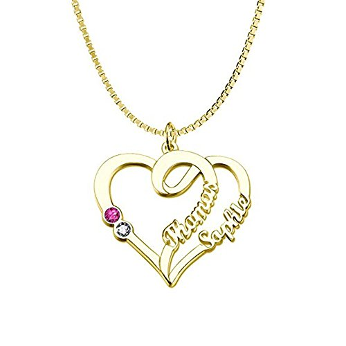 Personalized Name Necklace Custom Couples Name Necklace Pendant With Birthstones(gold-plated-base 16