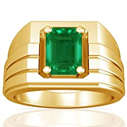 14K Yellow Gold Emerald Cut Emerald Men's Ring (GIA Certificate)