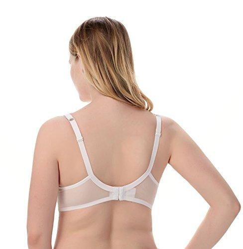 LXYFC-Sujetador de gran tamaño, Forma del vaso, leche pura seda, cómodo y transpirable, sujetador, blanco negro,Blanco,80g