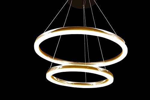 Upgrade LED Lighting Chromium Double Round Circle Dazzling Crystal Scrub Glass Ceiling Light Pendant Fixture Linear Suspension Chandelier (Big 26'' + Small 18'') by Modin Home Inc
