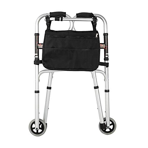 MallMall Aluminum Alloy & Steel Folding Walker Mobility Aid Walkers Adjustable Height Walker Aids Lightweight Walkers for Seniors (Pattern Wheels Walker & Bag) by MallMall