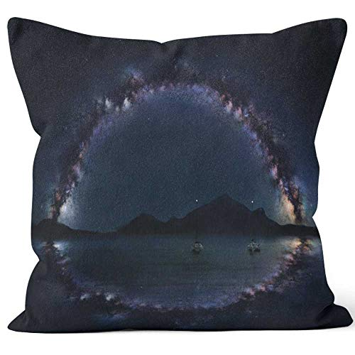 Nine City Milky Way Panorama on The Open sea with Two Lonely Boats Home Decorative Throw Pillow Cover,HD Printing Square Pillow case - Milky Panorama Way