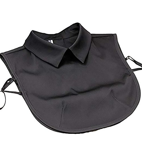 Satin Stylish Solid (LANGUGU Stylish Detachable Half Shirt Blouse False Collar Solid Color Satin Fake Collar Dickey Collar (Black))
