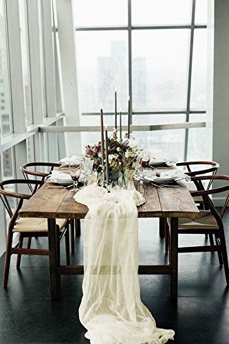 SoarDream Ivory Sheer Table Runner 27 x 120 Inches Chiffon Runners for Wedding Party Baby Shower Table Decorations