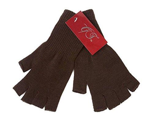 Gravity Threads Unisex Warm Half Finger Stretchy Knit Gloves, Brown