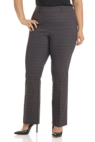 Business Suit Trousers (REKUCCI Curvy Woman Ease In To Comfort Fit Barely Bootcut Plus Size Pant (18W,Charcoal/Wine))