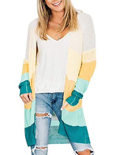 (ZESICA Women's Long Sleeve Color Block Open Front Draped Sweater Cardigan with Pockets Green )