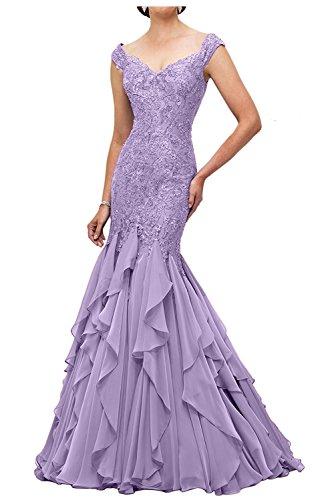 Brautmutterkleider Braut Abendkleider mia Meerjungfrau Lang Flieder Ballkleider Lawender Spitze Etuikleider La Abschlussballkleider 4qwT18w