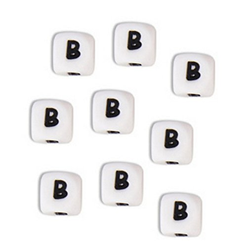 Perle en silicone alphabétique de 12 x 12 mm Blanc Lettre E Lot de 3 perles