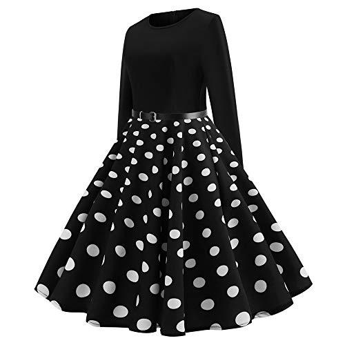 da a pois manica a Vestito a nero vintage donna lunga girocollo qwp5BI