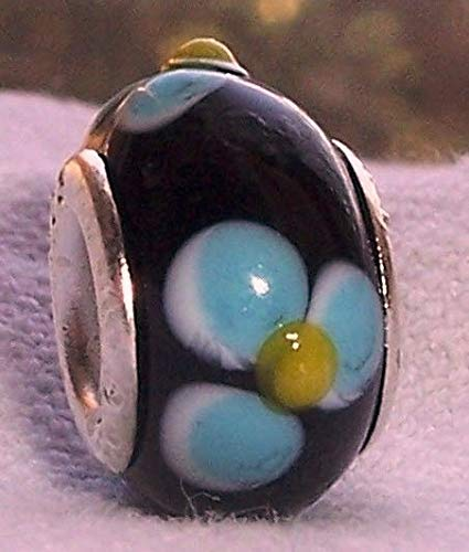 - Black Blue Yellow Flowers Murano Glass Bead fits Silver European Charm Bracelets id-733