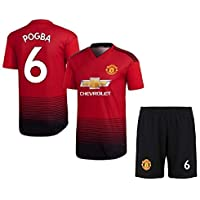 HeadTurners NonBranded Manchester United Football Home Jersey Set of T Shirt and Shorts of Paul Pogba for Men, Kids and Boys