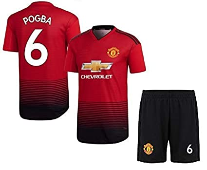 lowest price 6fcf4 c1dee HeadTurners NonBranded Manchester United Football Home Jersey Set of T  Shirt and Shorts of Paul Pogba for Men, Kids and Boys