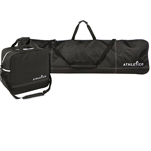 Athletico Two-Piece Snowboard and Boot Bag Combo | Store & Transport Snowboard Up to 165 CM and Boots Up To Size 13 | Includes 1 Snowboard Bag & 1 Boot Bag (Black)