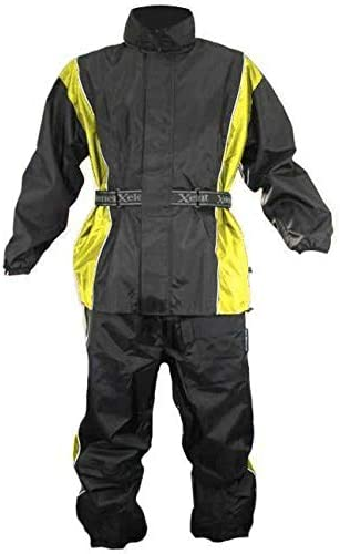 Xelement RN4782 Mens Black and Yellow 2-Piece Motorcycle Rain Suit with Boot Strap