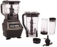 The Ninja mega kitchen system comes packed with 1500 watts of power to handle all of your drink and meal-making needs. The XL 72 oz*. blender pitcher features total crushing technology to blast through ice and frozen fruit. Two 16 oz. Nutri N...