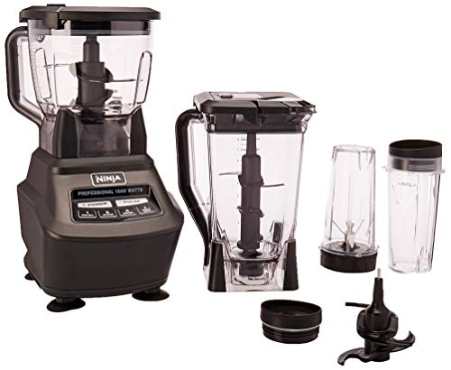 Ninja Mega Kitchen System (BL770) Blender/Food Processor with 1500W Auto-iQ Base, 72oz Pitcher, 64oz Processor Bowl, (2) 16oz Cup for Smoothies, Dough & - Jar Recipes Gift