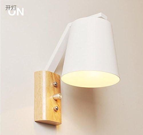 Madera maciza IKEA lámpara de pared creativa mesita Hierro lámpara ...