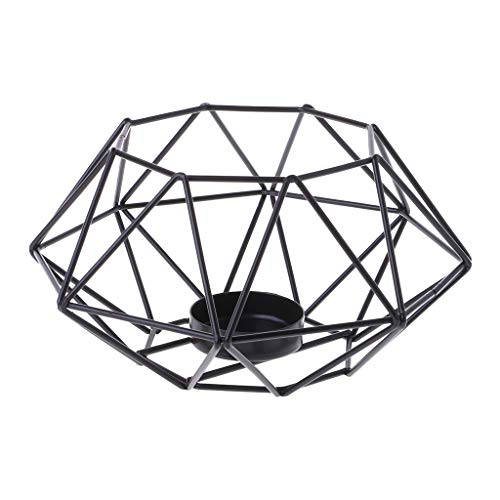 puhoon Nordic Style 3D Octagon Geometric Candlestick, Simple Metal Candle Tea Light Holder, Wedding Valentine's Day Home Decor ()