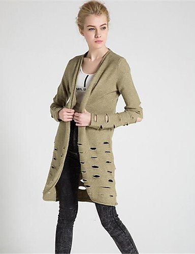 Simple Xuanku Polyester elastic Sleeves Wool Fall Women's Solid Micro Casual Long Winter Thick Green Neck Cotton Cardigan V Daily Print Long CqAqtw