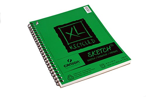 Canson XL Series Recycled Paper Sketch Pad, Side Wire Bound, 50 Pound, 9 x 12 Inch, 100 Sheets by Canson (Image #1)