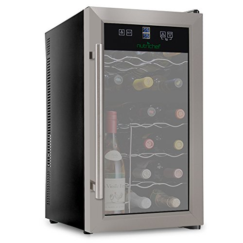 NutriChef PKDSWC18 18 Bottle Dual Zone Thermoelectric Wine Cooler - Red and White Wine Chiller - Countertop Wine Cellar - Freestanding Refrigerator - With LCD Digital Touch Controls - Stainless Steel ()