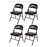 Portable Commercial Folding Chair Wedding Party Holidays Event Seat Durable Heavy-load Steel Frame Upholstered Padded Seat Home Kitchen Office Furniture - Set of 4 Black #1729