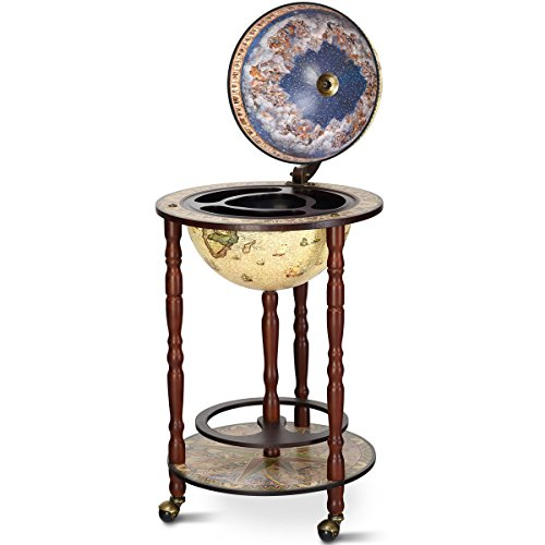 16th Century Antique Italian-Style Globe Wooden Construction Wine Rack Wine Bar Stand Holder Liquor Bottle Glass Shelf Cart 3 Wheels For Easy Movement Home Bar Kitchen Dining Room Living Room Decor
