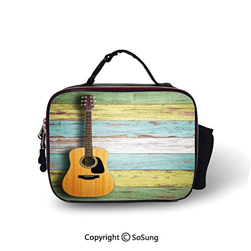Music Decor Insulated Lunch Bag Acoustic Guitar on Colorful Painted Aged Wooden Planks Rustic Country Decor Printed lunch bag for boys and girls,10.6x8.3x3.5 inch,Multicolor (Best Japanese Acoustic Guitars)