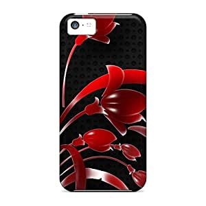 Premium Red Flowers Heavy-duty Protection Case For Iphone 5c