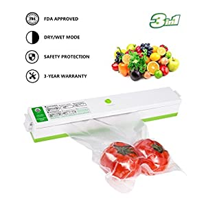 Vacuum Sealer Machine, Automatic Portable Vacuum Sealing System for Food Preservation Packing and Sous Vide Cooking, Multi-function Starter Kit Plus 15 Sealing Storage Bags for Free