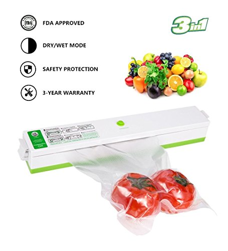 Vacuum Sealer Machine, Automatic Portable Vacuum Sealing System for Food Preservation Packing and Sous Vide Cooking, Multi-function Starter Kit Plus 15 Sealing Storage Bags for Free - Automatic Vacuum Sealed Food Storage
