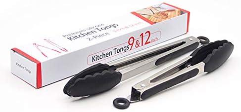 Moonvvin 2 Pcs キッチン高級鉗子 シリコーントング 調理トング 滑り止め バーベキュートング 耐熱 抗菌 食洗器可 9インチと12インチ