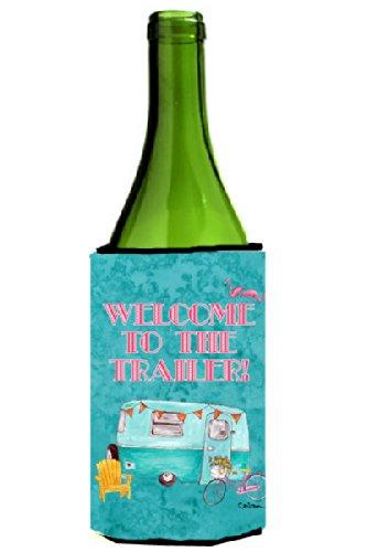 Welcome to the Trailer  Retro Glamping Trailer Wine Bottle Beverage Insulator Beverage Insulator Hugger