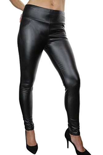(1458) Jegging filiforme Imitación Piel Negro Super Sexy