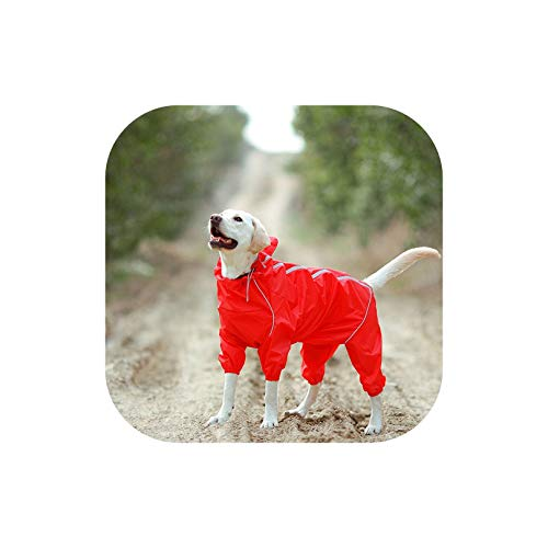 Pet Dog Raincoat Waterproof Clothes High Neck Hooded Jumpsuit for Small Big Dogs Rain Cloak,Red,18