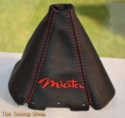 The Tuning-Shop Ltd For Mazda Mx-5 Mk1 NA 1989-1997 Shift Boot Black Leather Red Miata Edition ()
