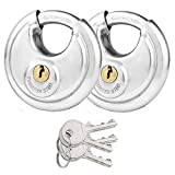 Stainless Steel Disc Padlock 2-3/4'', CBTONE Keyed Different Shrouded Discus Lock for Trailer Storage Truck Track Warehouse Bike - 2 Pack