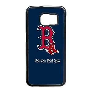 caso del borde del Boston Red Sox L9M97N6SV funda Samsung Galaxy S6 funda W41B83 negro