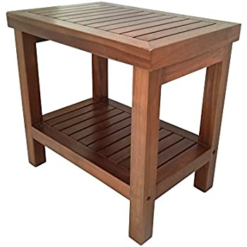 Amazon.com: AlaTeak Wood Shower Bath Spa Waterproof Stool Bench with ...