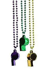"Mardi Gras, Purple, Green, and Gold Whistle Beads, Necklace, 40"", 12 Dozen (144pcs)."