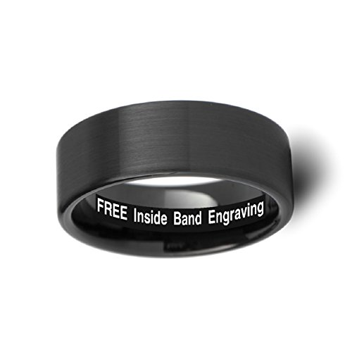 Thorsten SAN Antonio Flat Black Brushed Finish Tungsten Ring 12mm Wide Wedding Band from Roy Rose Jewelry