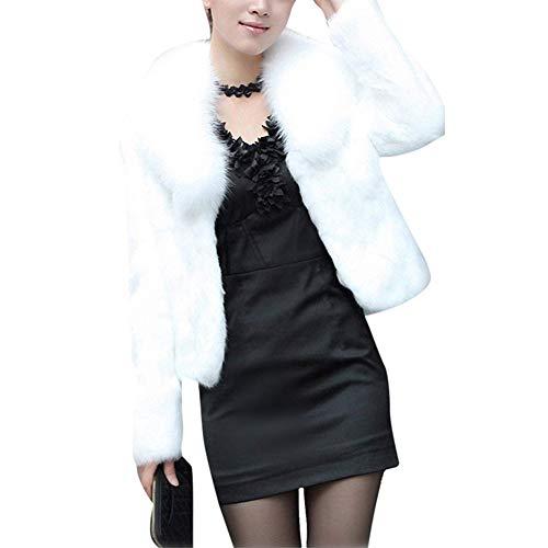 Rabbit Fox Fur Jacket - Classical city Faux Fox Fur Coat Women Long Sleeve Thick Overcoat Slim Short Jacket(M,White)