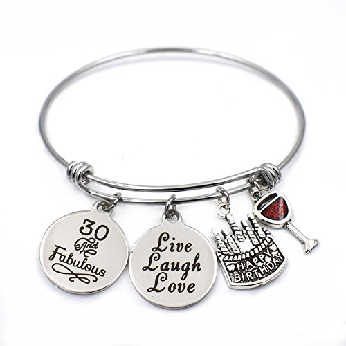 Expandable Wire Bangle Charm Bracelet 30th Birthday Gifts Thirty Jewelry Gifts for Women