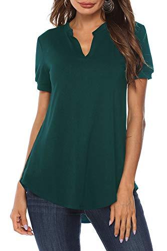 Zattcas Women's Notch V Neck Short Sleeve Tunic Tops Curved Hem High Low Blouse Shirts,Dark Green,XX-Large