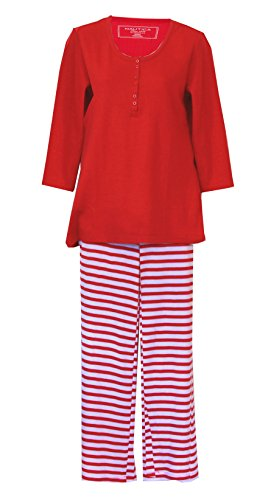 Nautica Henley Thermal Weave Knit Pajamas Set - Red/White (Small, Red/White)