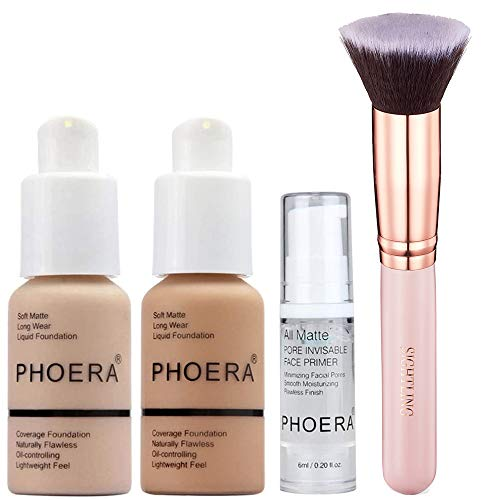PHOERA 30ml Foundation Liquid Full Coverage 24HR Matte Oil Control Concealer (Nude & Buff Beige) with 6ml Makeup Face…